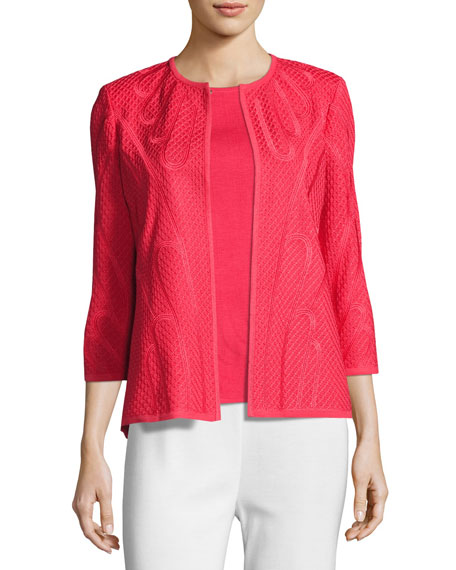 Misook Textured 3/4-Sleeve Jacket, Sorbet