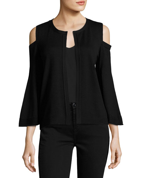 Kobi Halperin Julianne Cold-Shoulder Open-Front Cardigan, Black