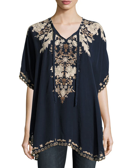 Egypt Embroidered Eyelet Poncho, Navy