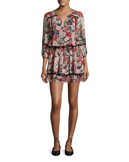 Joie Eldora Floral-Print Silk 3/4-Sleeve Blouson Dress, Black