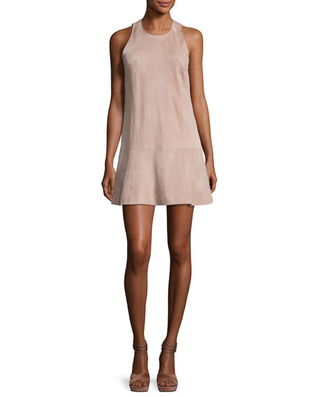 Joie Amedia Suede Sleeveless Mini Dress, Blush