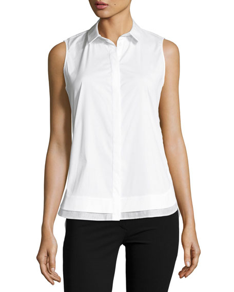 Lafayette 148 New York Excursion Sleeveless Stretch-Cotton Top,