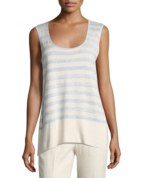 Striped Linen-Blend Melange Sequin Tank, Multi