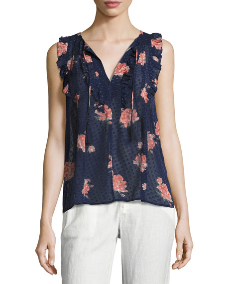 Joie Lea Flocked Floral-Print Sleeveless Top, Navy Blue