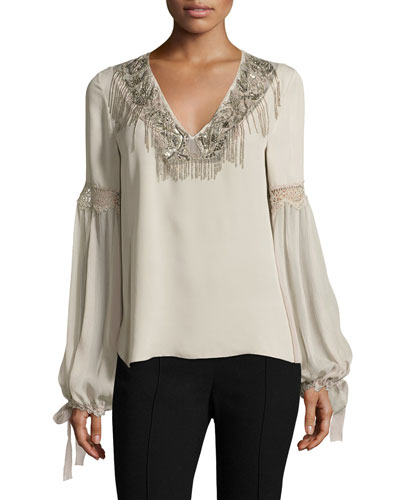 Clementine Tie-Sleeve Mixed-Media Silk Blouse