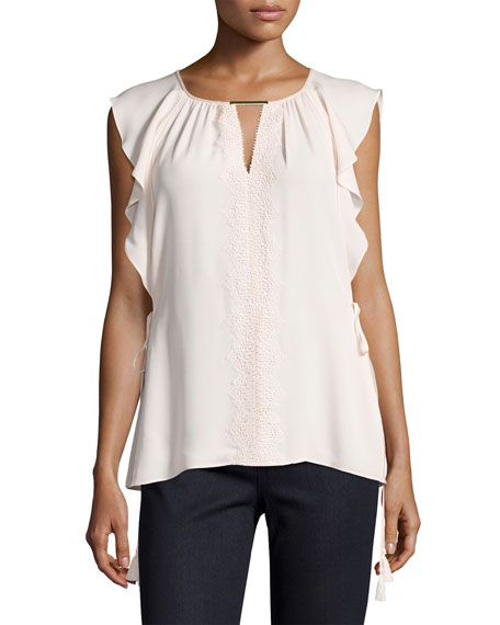 Elie Tahari Coline Lace-Trim Tasseled Silk Blouse, Light