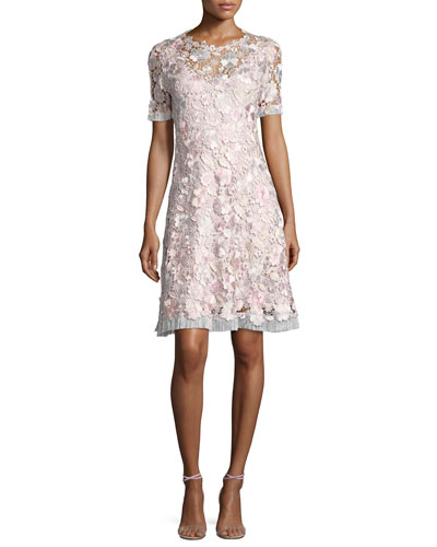 Laura Short-Sleeve Lace Dress, Pink Pattern