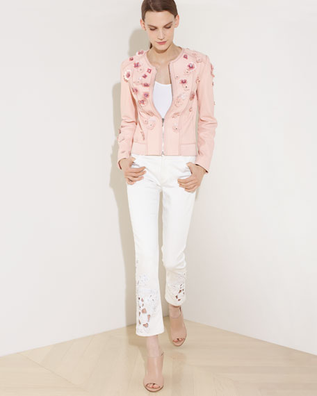 Glenna Leather Moto Jacket w/ Floral Appliqué