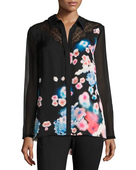 Elie Tahari Mason Lace-Trim Button-Front Floral Silk Blouse,