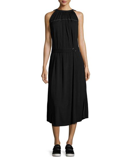 Shirred Jersey Midi Dress, Black