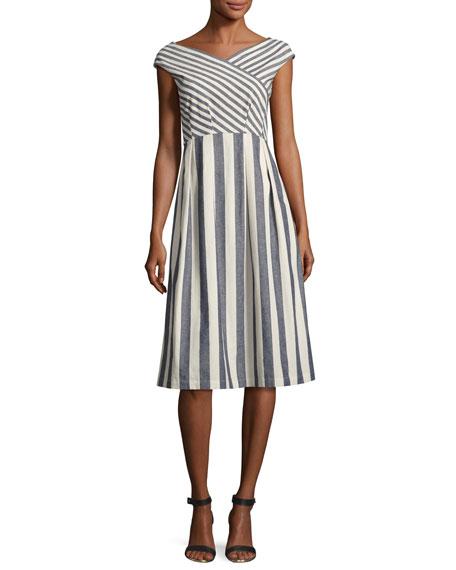 Cap-Sleeve Striped Tie-Waist Dress, Multi