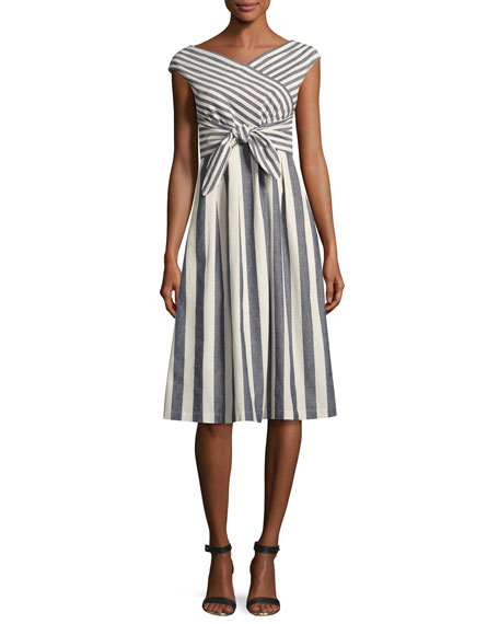 Cap-Sleeve Striped Tie-Waist Dress, Multi