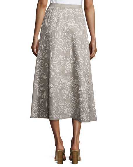 Embroidered Linen Midi Skirt, Gray