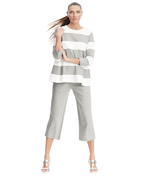 Image 2 of 3: Joan Vass Plus Size Striped Pullover Top
