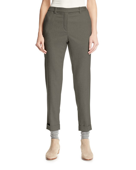 Jari Cashmere & Silk Flannel Cuffed Pants, Gray