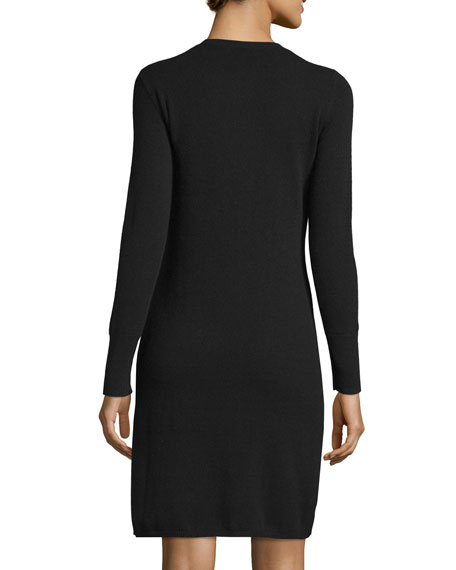 Cashmere Crewneck Sweaterdress, Plus Size