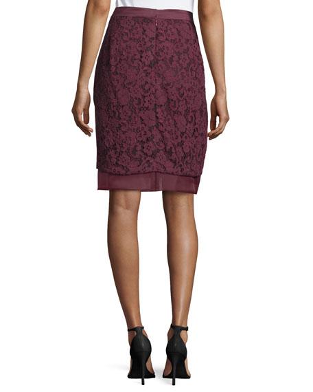 J. Mendel Lace Overlay Pencil Skirt