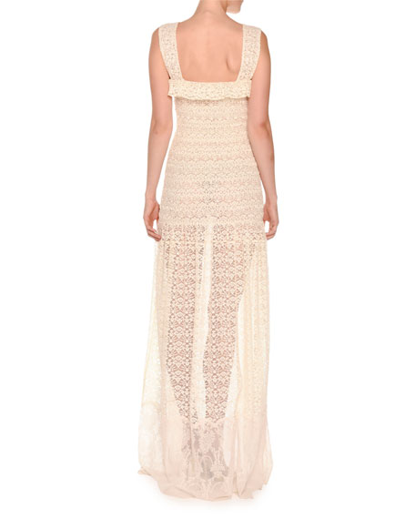 Sleeveless Smocked Lace Gown, Natural