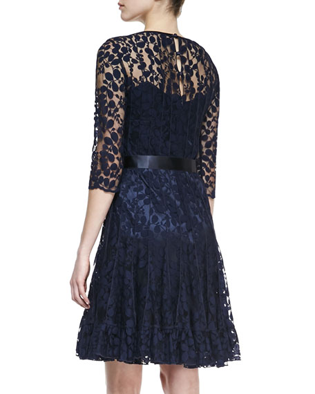 Rickie Freeman for Teri Jon 3/4-Sleeve Lace Overlay Cocktail Dress, Navy