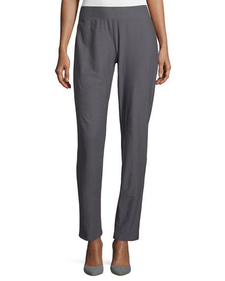 Washable-Crepe Straight-Leg Pants, Ash, Petite