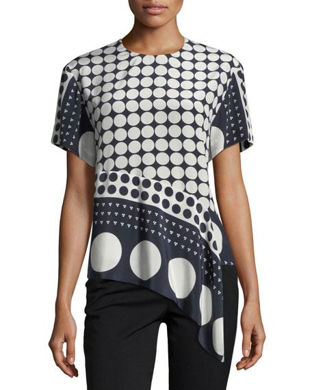 Diane von Furstenberg Polka-Dot Silk Asymmetric T-Shirt,