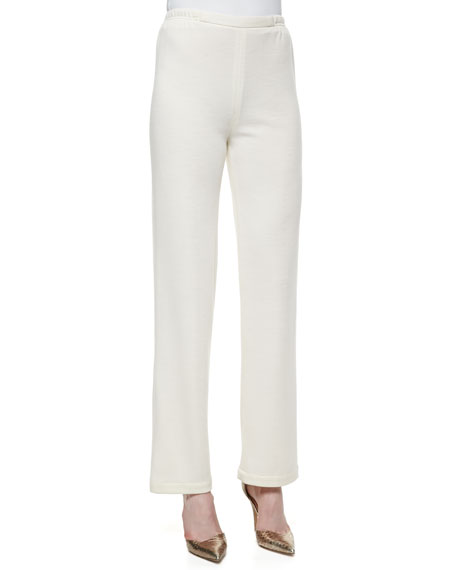 Caroline Rose Straight-Leg Flat Knit Wool Pants