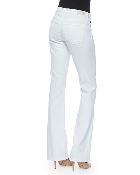 AG Angel Mid-Rise Boot-Cut Jeans, White