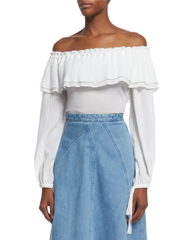 cf8f13356e29e Michael Kors Collection Off-Shoulder Cotton Peasant Blouse