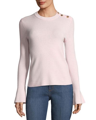 Kimberly Bell-Sleeve Merino Sweater w/ Buttons
