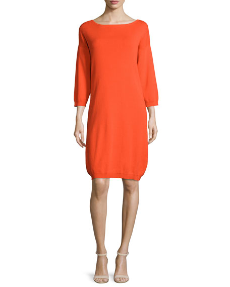 Joan Vass 3/4-Sleeve Cotton Dress, Poppy Orange, Petite
