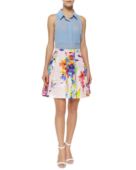 Marion Floral-Print Party Skirt