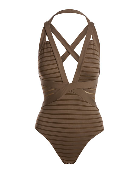 Parallels Crisscross Halter One-Piece Swimsuit