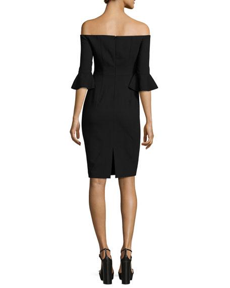 Flutter-Sleeve Off-the-Shoulder Sheath Dress