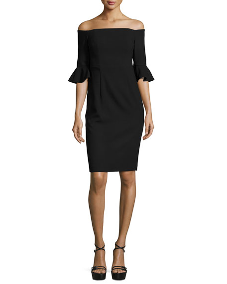 Black Halo Flutter-Sleeve Off-the-Shoulder Sheath Dress