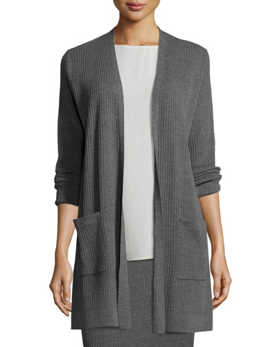 Petite Washable Wool Ribbed Long Cardigan