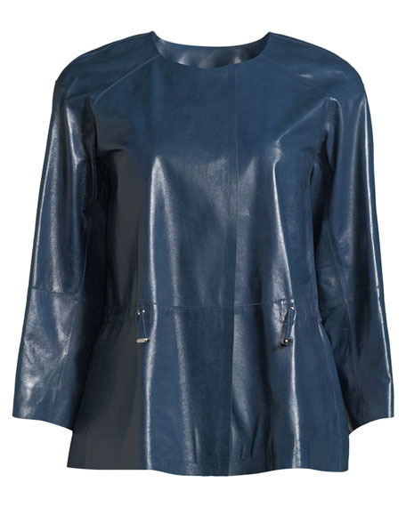 Kieran Lacquered Lamb Leather Jacket