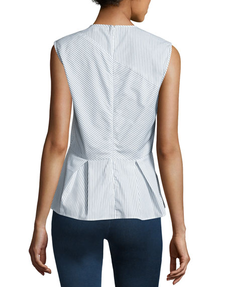 Veronica Beard Sleeveless Striped Peplum Shirting Top, Black/White
