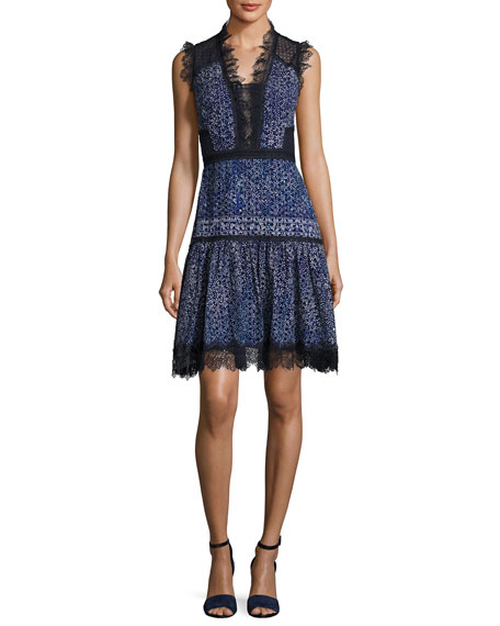 Elie Tahari Shanna Sleeveless Lace-Trim Floral Dress, Medium