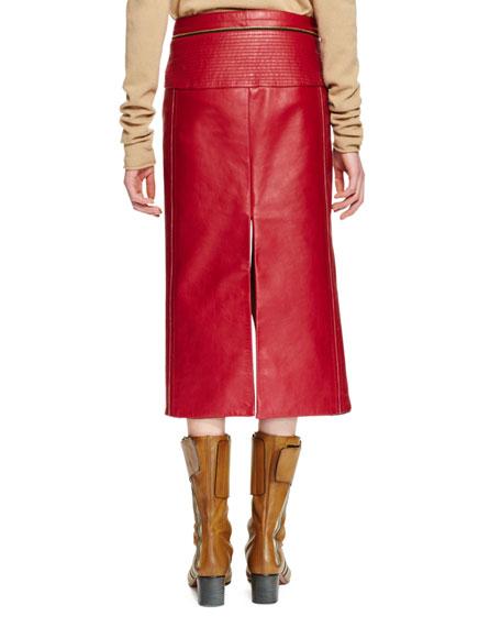 leather slit front midi skirt