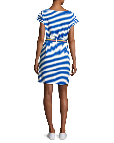 Boater Striped T-Shirt Dress, Blue/White