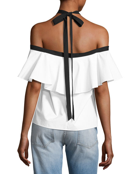 5eb36b30b12869 Alice + Olivia Alyssa Off-the-Shoulder Halter Top, White/Black | Neiman  Marcus