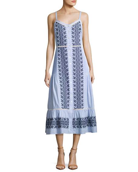 Veronica Beard Joni Sleeveless Embroidered Midi Shirtdress,