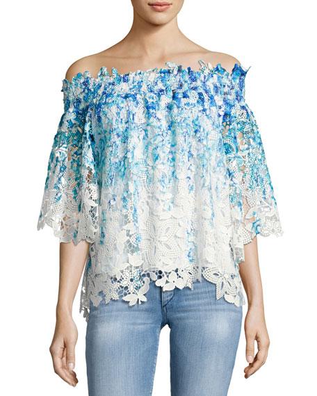 Elie Tahari Diana Off-the-Shoulder Ombre Lace Blouse, Blue