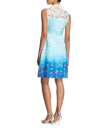 Kalli Sleeveless Zip-Front Ombre Lace Dress, Light Blue