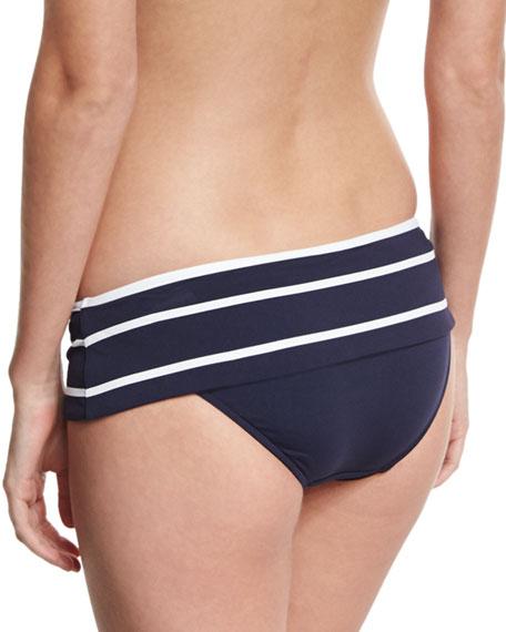 Castaway Striped Skirted Hipster Swim Bikini Bottom, Blue/White