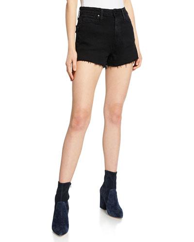 Margot High-Waist Denim Cutoff Shorts  Vintage Black