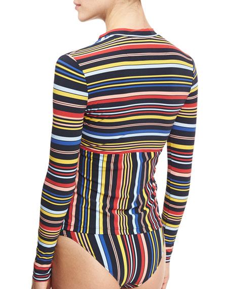 Striped Notched-Hem Rashguard, Multicolor