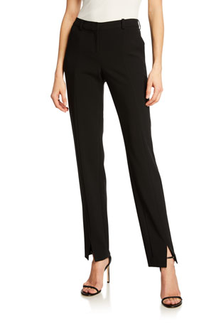 St. John Collection Crepe Marocain Ankle Pants, Caviar