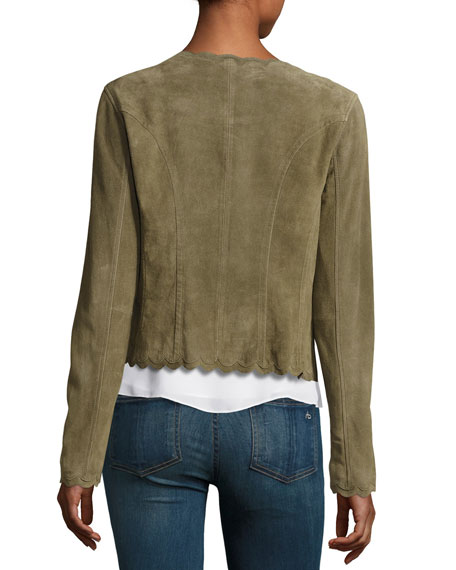 Scalloped Suede Jacket, Olive