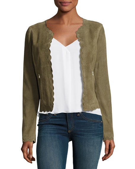 Neiman Marcus Scalloped Suede Jacket, Olive